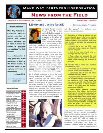 July 2009 Make Way Partners newsletter